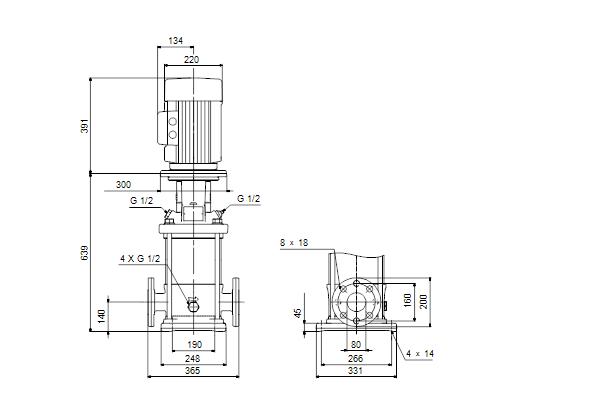 Grundfos pump: CR45-2-2 A-F-A-E-HQQE 3x400D 50 HZ (96122798)